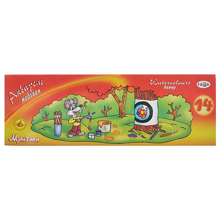 Краски акварельные медовые Мультики, с кистью, 14 цветов аврора 10058 1b