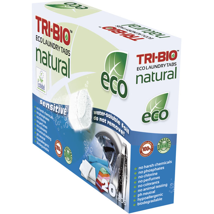 Натуральные эко-таблетки Tri-Bio для стирки, 500 г, 20 шт0168Натуральные эко-таблетки Tri-Bio - экологическая формула, основана на био-энзимах и натуральных растительных и минеральных компонентах. Не содержат фосфаты и формальдегиды, но также эффективны как широко известные жесткие химические средства. Подходят для стирки белого и цветного белья. Жестки для грязи - нежны для ткани. Не содержат ароматов и красителей, рекомендуются для людей, склонных к аллергическим реакциям и страдающих астмой. Идеально подходят для детского белья и людей с чувствительной кожей. Легкие в использовании и экономичные, упакованы в водорастворимую пленку. Для здоровья: Без фосфатов, растворителей, хлора отбеливающих веществ, абразивных веществ, отдушек, красителей, токсичных веществ, нейтральный pH, гипоаллергенно. Присвоены сертификаты EU Ecolabel и ECO GREEN. Для окружающей среды: Низкий уровень ЛОС, биоразлагаем, минимальное влияние на водные организмы. Особо рекомендуется использовать в домах с автономной канализацией Характеристики:Комплектация: 20 шт. Общий вес: 500 г. Вес одной таблетки: 25 г. Размер упаковки: 19 см х 5,5 см х 14,5 см. Артикул: 0168.