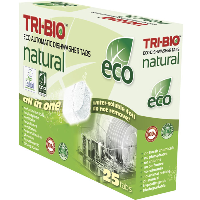 Натуральные эко-таблетки Tri-Bio для посудомоечных машин, 500 г, 25 шт0170Эко-таблетки Tri-Bio - экологическая формула, основана на био-энзимах и натуральных растительных и минеральных компонентах. Не содержат опасных химических веществ, но также эффективна как широко известные жесткие химические моющие средства. Быстро и легко растворяет жиры и удаляет засохшую грязь, оставляя вашу посуду кристально чистой. Не оставляет ужасных химических запахов и остатки моющего средства, на вашей посуде и посудомоечной машине. Не содержит ароматов и красителей, рекомендуется для людей, склонных к аллергическим реакциям и страдающих астмой. Легкие и безопасные в использовании, упакованы в водорастворимую пленку. Для здоровья: Без фосфатов, растворителей, хлора отбеливающих веществ, абразивных веществ, отдушек, красителей, токсичных веществ, нейтральный pH, гипоаллергенно. Присвоены сертификаты EU Ecolabel и ECO GREEN. Для окружающей среды: Низкий уровень ЛОС, биоразлагаем, минимальное влияние на водные организмы. Особо рекомендуется использовать в домах с автономной канализацией. Применение: Ополосните сильно загрязненную посуду. Не удаляйте водорастворимую плёнку! Поместитe таблетку в дозировочный отсек, и запустите вашу обычную программу. В регионах с высокой жесткостью воды, для максимального результата, используйте дополнительно ополаскиватель и специальную соль. Характеристики:Комплектация: 25 шт. Общий вес: 500 г. Вес одной таблетки: 20 г. Состав: Sodium carbonate (органический, сода), Sodium citrade (органический, соль), Sodium percarbonate (отбеливатель на кислородной основе), Acrylamide-sodium acrylate copolymer (поликарбоксилат), N,N-ethylenebis[N-acetylacetamide (отбеливатель на кислородной основе), Isotridecanol, ethoxylated (органический, из кокосового масла, пальмового масла или сои), Polyethylene glycol, Sodium silicate, Glycerol, Rapsoel (рапсовое масло), Protease and Amylase (ферменты) Размер упаковки: 19,5 см х 5,5 см х 14,5 см. Артикул: 0170.
