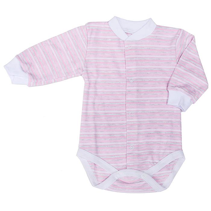 Боди детское Фреш Стайл, цвет: розовый в полоску. 39-327. Размер 56, от 0 месяцев боди детское hudson baby hudson baby боди цыплёнок 3 шт бирюзово розовый