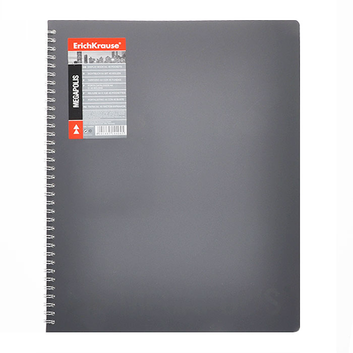 Папка с файлами Erich Krause Megapolis, 40 листов, цвет: серый14404Практичная папка на спирали Erich Krause Megapolis с 40 прозрачными файлами-вкладышами идеально подходит для хранения ипрезентации документов и рабочих бумаг формата А4, не требуя дополнительного перфорирования листов. Двойная металлическая евроспираль позволяет легко раскладывать папку под любым нужным углом. Папка выполнена из жесткого серого пластика с частичной лакировкой. Благодаря совершенной технологии производства папка не подвергается воздействию низкой температуры, не деформируется и не ломается при изгибе и транспортировке. Характеристики:Материал: пластик, металл. Цвет: серый. Вместимость: 40 вкладышей. Размер: 31,5 см х 25 см х 1,5 см. Изготовитель: Китай.