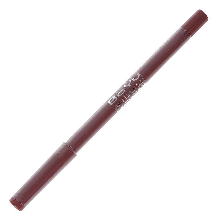 BeYu Карандаш для губ Soft Liner, универсальный, тон №522, 1,2 г34522Мягкая текстура карандаша Soft Liner легко и приятно наносится на нежную кожу губ. Благодаря стойкой формуле карандаш фиксируется уже через минуту и становится водостойким. При этом при необходимости он легко растушевывается. Широкая цветовая палитра дает возможность идеально подобрать карандаш к помаде, а удобная пластиковая упаковка защищает грифель от сколов. Товар сертифицирован.