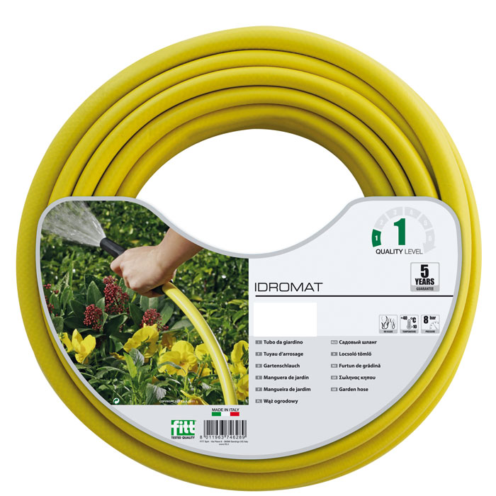 Шланг поливочный Idro Mat 1/2, цвет: желтый, 12,5 мм x 25 м шланг садовый truper трехслойный с латунным коннектором 1 2 25 м