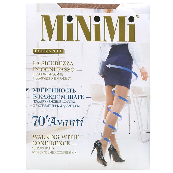 Колготки Minimi Avanti 70, цвет: светло-бежевый (Caramello). Размер 3Avanti 70_CaramelloЭластичные поддерживающие колготки с распределенным давлением, гигиеничной ластовицей, плоским швом и укрепленным мыском, сформированная ступня.