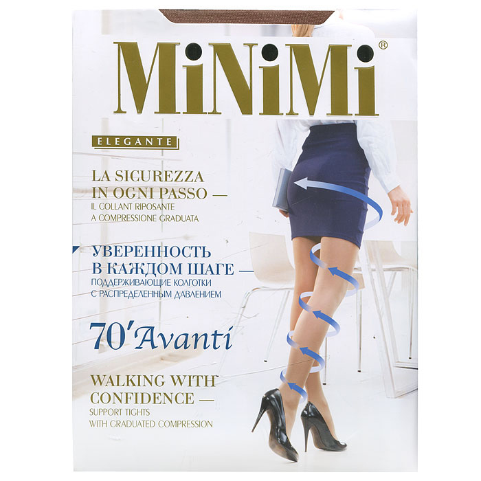 Колготки Minimi Avanti 70, цвет: темно-коричневый (daino). Размер 3Avanti 70_dainoЭластичные поддерживающие колготки с распределенным давлением, гигиеничной ластовицей, плоским швом и укрепленным мыском, сформированная ступня.