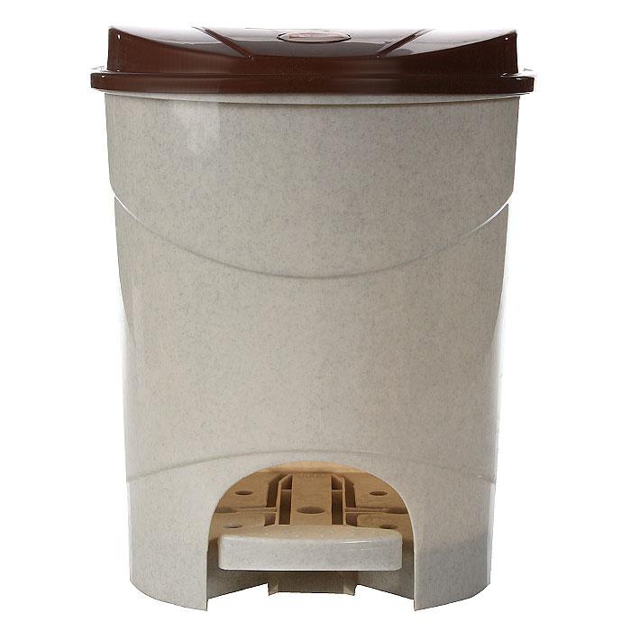 """Контейнер для мусора """"Idea"""",с педалью, 11 л, цвет: бежевый, коричневый. М2891"""