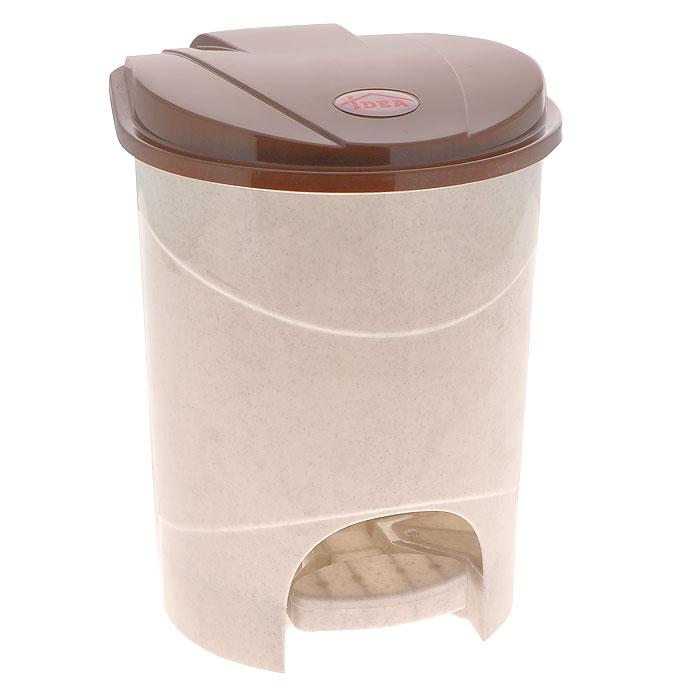 """Контейнер для мусора """"Idea"""", с педалью, цвет: бежевый, коричневый, 7 л. М 2890"""