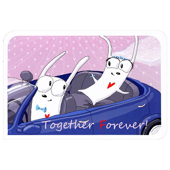 """Авторская открытка станет необычным и ярким дополнением к подарку дорогому и близкому вам человеку или просто добавит красок в серые будни. Открытка оформлена ярким рисунком в виде забавных кроликов на машине и надписью """"Together! Forever!"""".  Обратная сторона открытки не содержит текста, что позволит вам самостоятельно написать свое пожелание. К открытке прилагается бумажный конверт.   Характеристики: Размер открытки:  10 см х 15 см. Размер конверта:  11 см х 16 см. Материал: бумага. Артикул: ys150113.vsegda.25.4.      УВАЖАЕМЫЕ КЛИЕНТЫ!   Просим обратить Ваше внимание на то, что работа, выполненная на заказ, может незначительно отличаться от представленной на фото, так как это авторская работа."""