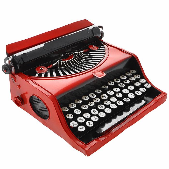 Декоративная модель печатной машинки, цвет: красный, черный. 2402224022Декоративная модель выполнена из металла в виде печатной машинки. Модель станет оригинальным украшением интерьера. Вы можете поставить модель в любом месте, где она будет удачно смотреться и радовать глаз. Также модель отлично подойдет в качестве стильного подарка близким и друзьям. Характеристики:Материал: металл. Цвет: красный, черный. Размер: 28 см х 26 см х 12,5 см. Артикул: 24022.