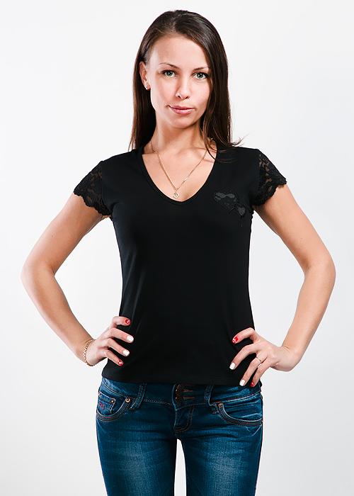 Футболка женская Lowry, цвет: черный. LF-221. Размер M (44/46)LF-221Стильная женская классическая футболка с короткими рукавами, изготовленная из хлопка с добавлением лайкры, прекрасно подойдет для любого типа фигуры. Спереди футболка оформлена аппликацией в виде сердечек.Такая замечательная футболка станет как отличным украшением гардероба, так и восхитительным подарком. В ней вы всегда будет в центре внимания!