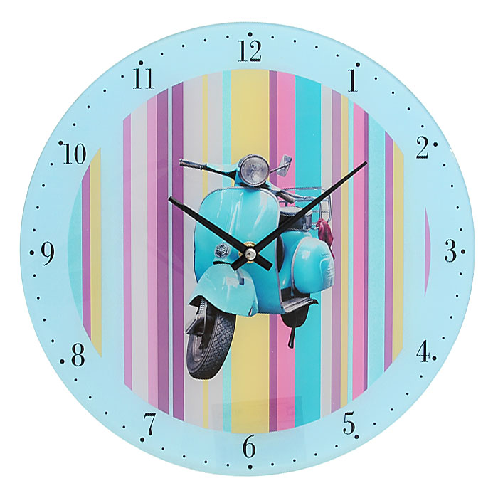 Часы настенные Голубой мотороллер, кварцевые27794Настенные кварцевые часы Голубой мотороллер выполнены из высококачественного стекла и оформлены изображением голубого мотороллера на разноцветном полосатом фоне. Часы имеют две стрелки - часовую, минутную. Своим эксклюзивным дизайном часы подчеркнут оригинальность интерьера вашего дома и помогут создать атмосферу домашнего уюта. Такие часы послужат отличным подарком для каждого. Характеристики:Материал: стекло, металл, пластик. Диаметр часов: 30 см. Размер упаковки: 30 см х 30 см х 4 см. Артикул: 27794. Рекомендуется докупить батарейку типа АА (в комплект не входит).