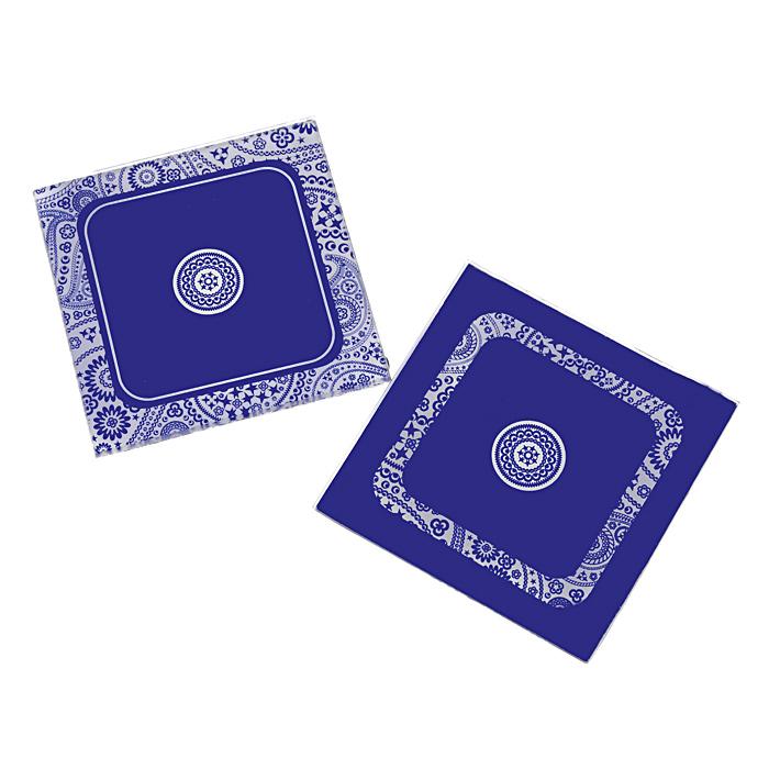 Подставка под кружку Орнамент, цвет: фиолетовый, 2 шт. 2783827838Подставка под кружку, выполненная из стекла, поможет вам защитить поверхность стола от загрязнений и воздействия высоких температур напитка. Подставка декорирована оригинальным орнаментом на фиолетовом фоне. Подставка под кружку - это практичный и красивый аксессуар, который прекрасно подойдет для использования в офисе и быту, а оригинальное оформление вызовет улыбку. В комплекте 2 подставки. Характеристики:Материал: стекло. Размер подставки:9 см х 9 см. Комплектация:2 шт. Артикул: 27838.