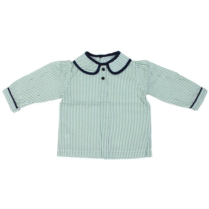 Блуза для девочки Mininio Star, цвет: зеленый, белый. 22M422JVK81. Размер 7422M422JVK81Замечательная блуза для девочки Mininio Buttons с длинными рукавами идеально подойдет вашей малышке. Изготовленная из натурального хлопка, она необычайно мягкая и приятная на ощупь, не сковывает движения малышки и позволяет коже дышать, не раздражает даже самую нежную и чувствительную кожу ребенка, обеспечивая ему наибольший комфорт. Блуза с отложным воротничком с округлыми краями на спинке по все длине застегивается на пуговички. Длинные рукава фонарики снизу дополнены неширокими манжетами.Оригинальный дизайн и яркая расцветка делают эту блузку модным и стильным предметом детского гардероба. В ней ваша маленькая леди всегда будет в центре внимания!