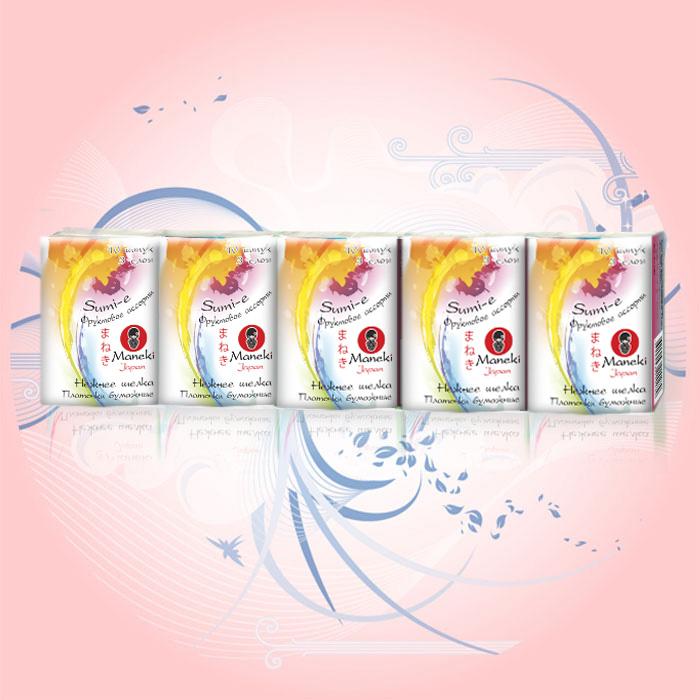 Платочки бумажные Maneki Sumi-e, трехслойные, с ароматом фруктов, 10 пачекРТ319Трехслойные бумажные платочки Maneki Sumi-e, выполненные из натуральной экологически чистой целлюлозы, подарят превосходный комфорт и ощущение чистоты и свежести. Необычайно мягкие и шелковистые платочки предназначены для рук и лица, не вызывают раздражения. Обладают приятным фруктовым ароматом. Характеристики:Материал: 100% целлюлоза. Количество салфеток в пачке: 10 шт. Количество пачек: 10 шт. Количество слоев: 3. Размер листа: 21 см х 21 м. Размер упаковки: 26,5 см х 7,5 см х 5,5 см. Артикул: РТ319.