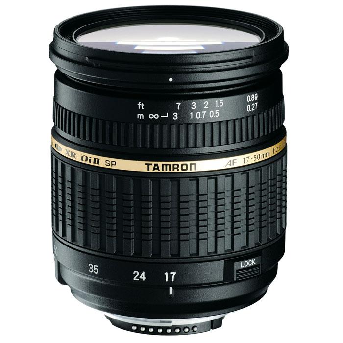 Tamron SP AF 17-50mm F/2.8 XR Di II LD NikonA16NTamron SP 17-50mm F/2,8 XR Di II LD – легкий и быстрый стандартный зум-объектив, спроектированный специальнодля цифровых зеркальных фотокамер. Этот объектив задумывался как продолжатель традиций Tamron SP AF 28- 75mm F/2.8 XR Di LD Aspherical [IF] MACRO.Важное преимущество объектива Tamron 17-50 – его диафрагма f/2.8. Это дает возможность художественногоразмытия заднего плана (боке), позволяя сосредоточить внимание только на объекте съемки, например, присъемке портретов. Этот объектив также обеспечивает очень хорошие возможности при съемке с близкогорасстояния (среди стандартных зумов с большим относительным отверстием). Обратите внимание на то, чтофотограф может использовать диафрагму f/2.8 на всем диапазоне фокусных расстояний, что встречается не такчасто в объективах этого класса. Tamron 17-50 спроектирован специально для использования с цифровымизеркальными фотокамерами (в обозначении – Di II). Это говорит о том, что при максимальном качестве оптики,присущем объективам серии Di, объективы серии Di II обладают меньшим весом и более компактны.Самое минимальное в мире фокусное расстояние (всего 27 см) было достигнуто с использованием трех XRэлементов (стекла повышенным коэффициентом отражения) в передней группе в сочетании с новоймеханической конструкцией, но в то же время обладает меньшим весом и более компактен. Максимальныйкоэффициент увеличения 1:4,5 и вес 430 г также делают его мировым лидером среди объективов в том же классе сдиафрагмой F/2.8. Использование трёх сложных асферических элементов, стекла LD и просветляющего покрытияBBAR гарантирует великолепное качество изображения, безукоризненную цветопередачу, а также отсутствиеореолов. В результате Вы получаете изображение превосходной четкости.Объективы серии Di II предназначены исключительно для использования с цифровыми зеркальнымифотокамерами, максимальный размер сенсора которых не более 16x24mm (APS-C). Отверстие у этих объективов,соответственно, меньше, по