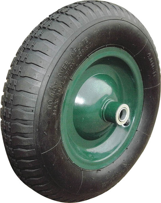 Колесо запасное для тачки FIT, 100 x 400 мм, 200 кг77561Колесо FIT является запасным элементом для тачки. Имеет резиновую шину и камеру, крашенный диск. Диаметр надувного колеса 100 x 400 мм. Шариковый стальной подшипник обеспечивает прочность и надежность конструкции. Грузоподъемность колеса составляет 200 кг. Характеристики: Материал: резина, металл. Грузоподъемность: 200 кг. Внутренний диаметр втулки: 16 мм. Размеры колеса: 40 см х 40 см х 10 см. Размер упаковки:40 см х 40 см х 10 см.