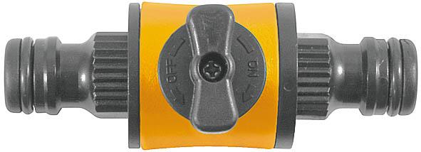 С запорным клапаном. Применяется для быстрого и надежного соединения двух шлангов, с  универсальными соединителями на концах, запорный клапан для регулировки подачи воды. Материал: ABS пластик с прорезиненными  вставками. Упаковка: блистер.