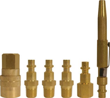 Набор адаптеров FIT, 6 шт81128Набор адаптеров на пистолет FIT американского типа предназначен для соединения с пневматической линией, инструментом, компрессором. Набор состоит из 3 ниппелей с наружной резьбой, 1 ниппеля с внутренней резьбой, 1 муфты с запорным клапаном, с внутренней резьбой и 1 обдувочной насадки. Характеристики:Материал: латунь. Наружная резьба ниппеля: М13. Шаг резьбы: 1,5 мм Под ключ: S = 14 Размер: 1,5 см х 1,5 см х 4 см. Внутренняя резьба ниппеля: М13 Шаг резьбы: 1,5 мм Под ключ: S = 16 Размер: 2 см х 2 см х 3,7 см Наружная резьба муфты: М13. Шаг резьбы: 1,5 мм Под ключ: S = 17 Размер: 2,5 см х 2,5 см х 4,5 см. Размер обдувочной насадки: 1,3 см х 1,3 см х 11 см. Размер упаковки: 15 см х 1,5 см х 15 см