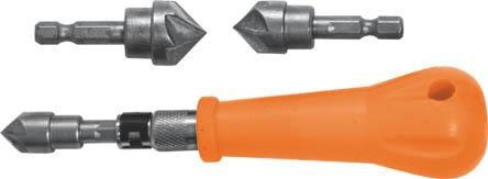 Зенкер ручной FIT, 3 насадки36440Зенкер ручной FIT используется для ручного зенкерования отверстий. В наборе 3 конических зенкера с хвостиками под биту и держателем. Характеристики: Материал: пластик, термообработанная инструментальная сталь. Размеры зенкеров: 1,2 см, 1,6 см, 1,9 см. Длина ручки: 10 см. Размер упаковки:24 см х 10 см х 3 см.