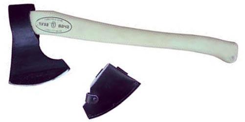 """Топор таежный """"Тигр"""" очень удобен в работе. Закалка и ковка произведена по технологии старорусских оружейников, а рукоятка изготовлена из высококачественных сортов березы. Имеет кожанный чехол.   Топор является незаменимым предметом в походе или на пикнике, с помощью него можно срубить дерево, наколоть дров для костра, а также сделать колышки для палатки, нарубить шесты для тента, срубить плот или другое средство для переправы. Материал: древесина, металл. Размеры топора: 51 см х 19 см х 4 см. Размеры упаковки: 51 см х 19 см х 4 см. Длина рукоятки: 50 см."""