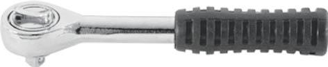 Вороток (трещотка) реверсивный FIT Стандарт, 1/4. 6230662306Реверсивный вороток FIT предназначен для работы с торцевыми головками при монтаже/демонтаже или ремонте различных конструкций. Изделие обладает высоким запасом прочности, так как полностью изготовлено из качественной инструментальной стали. Рукоятка изделия выполнена по форме ладони и прорезинена, что сводит к минимуму риск выскальзывания воротка из рук во время работы. Характеристики: Материал: сталь, резина. Размер воротка: 13 см x 2,5 см х 3 см. Размер упаковки: 17 см х 6,5 см х 3 см.