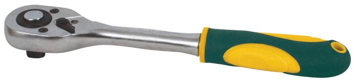 Трещотка реверсивная Fit, 1/4. 6237562375Реверсивная трещотка Fit предназначена для работы с торцевыми головками при монтаже/демонтаже или ремонте различных конструкций. Изделие обладает высоким запасом прочности, так как полностью изготовлено из качественной инструментальной стали. Рукоятка изделия выполнена по форме ладони и обрезинена, что сводит к минимуму риск выскальзывания воротка из рук во время работы. Характеристики: Материал: сталь, резина. Размер воротка: 15 см x 3 см х 2,5 см. Размер упаковки: 15 см x 3 см х 2,5 см.