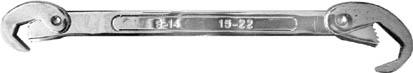 Ключ универсальный FIT, 9-22 мм. 6377163771Универсальный ключ FIT используется для выполнения работ с резьбовыми соединениями различных размеров. Зубчатые рабочие поверхности обеспечивают прочный и уверенный обхват крепежных элементов. Он обладает высокой прочностью и является двухсторонним. Характеристики: Материал: сталь. Размер ключа: 21 см x 4 см x 1 см. Размер упаковки: 27 см x 8 см x 1,5 см.