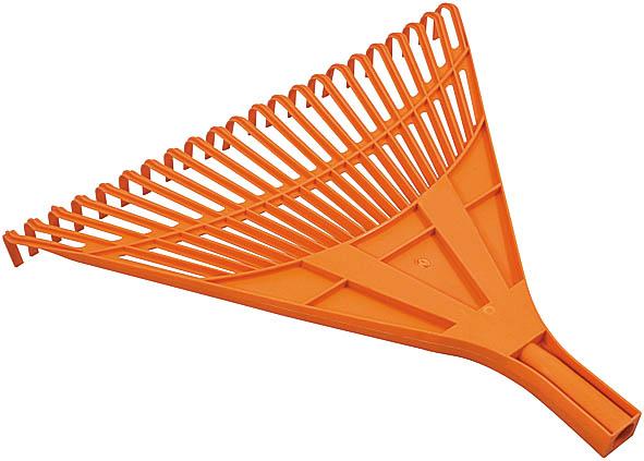 Грабли веерные FIT, цвет: оранжевый, 22 зуба77002Веерные пластиковые грабли FIT идеально подходят для работы на садовом участке, для сбора мусора, срезанных веток и сухой листвы. Зубья выполнены из прочного пластика и имеют веерную форму. Они не имеют черенка, что позволяет подобрать рукоятку необходимой длины. Характеристики: Материал: пластик. Диаметр отверстия под черенок: 24 мм. Размеры грабель: 45,5 см x 49,5 см x 4,5 см. Размер упаковки: 46 см x 55 см x 7 см.