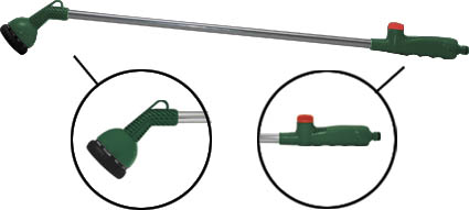 Поливочный пистолет Cellfast предназначен для подключения к шлангу для орошения и полива растений. Имеет удлинительную трубку из алюминия для полива высокорастущих растений и в труднодоступных местах. С помощью специального регулятора возможно изменять тип струи Имеет эргономичную рукоятку с TPR покрытием и пластмассовым протектором, предотвращающим повреждение пальцев. С помощью поворотной головки выбирается угол распыления. Распылитель выполнен из качественного материала, имеет длительный срок эксплуатации. Характеристики:Материал:  металл, пластик, ПВХ, резина. Размеры пистолета:  92 см х 12,5 см х 7 см. Размер упаковки:  100 см х 19 см х 10 см.