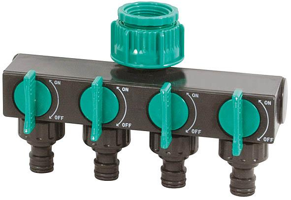 Распределитель четырехканальный FIT, 3/4. 7742981131Четырехканальный распределитель FIT предназначен для разветвления подачи воды в шланге при поливе растений. Соединяется с водопроводной трубой с внешней резьбой диаметром 3/4 и крепится к шлангам через соединители. Краны предоставляют возможность регулировать напор воды в линиях. Он выполнен из высокопрочного нетоксичного ABS-пластика, что гарантирует длительный срок эксплуатации. Характеристики: Материал: ABS пластик. Размер распределителя: 11 см x 17,5 см x 6,5 см. Размер упаковки: 17,5 см х 18 см х 7 см.