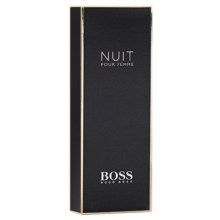 Hugo Boss Парфюмерная вода Boss Nuit Pour Femme, 30 мл0737052549910Boss Nuit Pour Femme от Hugo Boss - аромат для женщин. Выпущен в продажу в 2012 году. Относится к числу цветочных ароматов. Предназначен для весны и осени, для вечернего времени суток. Теплый, чувственный парфюм понравится амбициозным и ярким женщинам. Сочетается с изысканными нарядами, аксессуарами в классическом стиле. Хороший выбор для корпоративного мероприятия. Обладает достаточной стойкостью, приятным шлейфом. Верхняя нота: Белый персик, альдегиды. Средняя нота: Жасмин, фиалка, белые цветы. Шлейф: Сандал, белое дерево, дубовый мох. Жасмин - таинство ночи, страсть и женственность. Дневной и вечерний аромат.Краткий гид по парфюмерии: виды, ноты, ароматы, советы по выбору. Статья OZON Гид