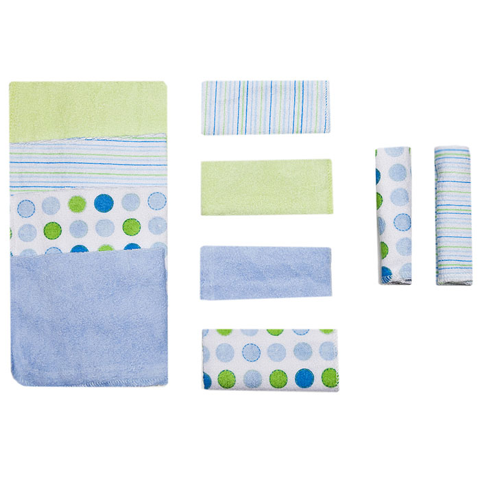 Набор салфеток для купания Spasilk, 23 см х 23 см, цвет: голубой, 10 шт010-002Салфетки для купания Spasilk прекрасно подойдут для бережного очищения нежной кожи малыша во время купания.Мягкие салфетки прекрасно впитывают влагу. В комплект входят десять салфеток: голубого, светло-зеленого цветов, белые в полоску и белые скружками голубого, синего и светло-зеленого цветов. Характеристики:Материал: 80% хлопок, 20% полиэстер. Размер салфетки: 23 см х 23 см. Изготовитель: Китай.