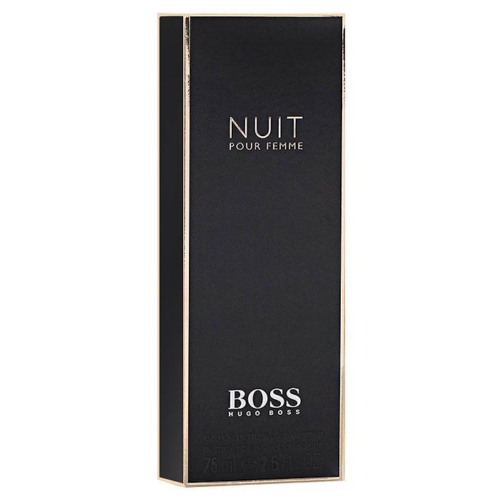Hugo Boss Парфюмерная вода Boss Nuit Pour Femme, 75 мл0737052549972Boss Nuit Pour Femme от Hugo Boss - аромат для женщин. Выпущен в продажу в 2012 году. Относится к числу цветочных ароматов. Предназначен для весны и осени, для вечернего времени суток. Теплый, чувственный парфюм понравится амбициозным и ярким женщинам. Сочетается с изысканными нарядами, аксессуарами в классическом стиле. Хороший выбор для корпоративного мероприятия. Обладает достаточной стойкостью, приятным шлейфом. Верхняя нота: Белый персик, альдегиды. Средняя нота: Жасмин, фиалка, белые цветы. Шлейф: Сандал, белое дерево, дубовый мох. Жасмин - таинство ночи, страсть и женственность. Дневной и вечерний аромат.