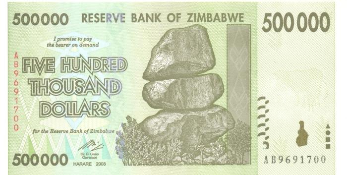 Банкнота номиналом 500000 долларов. Зимбабве. 2008 год