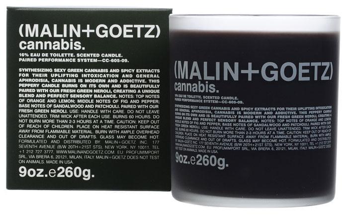 Malin+Goetz Свеча ароматизированная Каннабис, 260 гMG034Современный и соблазнительный аромат cвечи Каннабис сочетает сексуальные ноты зелени конопли и пряные экстракты, которые оказывают тонизирующее действие и являются афродизиаком.Композиция: верхняя нота: инжир и перец.средняя нота: апельсин и лимон.базовая нота: сандал и пачули. Оптимальное время непрерывного горения свечи - не более 2 или 3 часов. Характеристики:Вес: 260 г. Производитель: США. Товар сертифицирован.