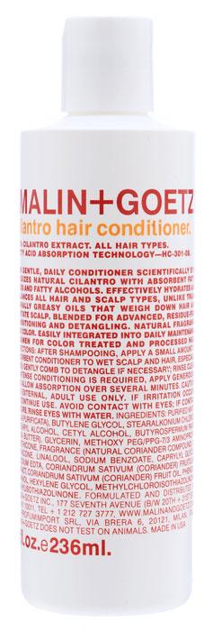Malin+Goetz Кондиционер Кориандр, для всех типов волос, 236 млMG044Мягкий кондиционер Malin+Goetz Кориандр подходит для ежедневного использования содержит экстракт кориандра, питательные жирные кислоты и жирные спирты. Инновационная формула ухаживает за волосами, не оседает на волосах, бережно распутывает, увлажняет и поддерживает баланс всех типов волос и кожи головы, не вызывая утяжеления волос и раздражения кожи. Является отличным дополнением к ежедневному уходу за окрашенными и химически обработанными волосами. Не содержит хлорид натрия и подходит для химически выпрямленных волос. Имеет натуральный аромат и цвет. Характеристики:Объем: 236 мл. Производитель: США. Товар сертифицирован.