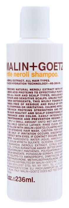 Malin+Goetz Шампунь для волос Нероли, деликатный, 236 млMG051Мягкий шампунь Malin+Goetz Нероли содержит натуральный экстракт нероли и увлажняющие протеины аминокислот, которые эффективно очищают и поддерживают баланс всех типов волосы и кожи головы, в том числе окрашенных, химически обработанных волос и чувствительной кожи головы.Нероли успокаивает, протеины аминокислот увлажняют волосы и кожу головы, ухаживая и делая их здоровыми. В отличие от традиционных грубых очищающих средств, этот шампунь умеренно пенится, полностью смывается водой и не накапливается на волосах, не вызывая сухости, повреждений и раздражения. Волосы и кожа головы становятся здоровыми и ухоженными. Не содержит хлорид натрия и подходит для химически выпрямленных волос.Подходит для частого использования и всех типов волос, включая тонкие и нормальные волосы. Характеристики:Объем: 236 мл. Производитель: США. Товар сертифицирован.