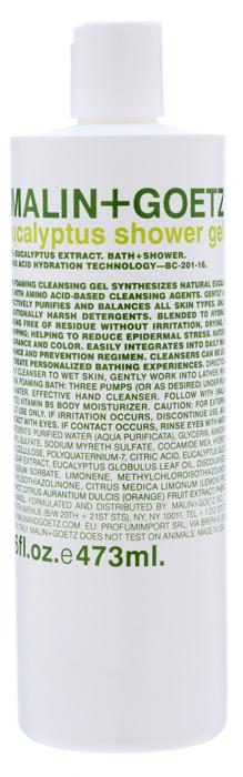 Malin+Goetz Гель для душа Эвкалипт, 473 млMG070Концентрированный пенящийся гель для душа Malin+Goetz Эвкалипт содержит натуральный эвкалипт и очищающие ингредиенты на основе аминокислот для мягкого увлажнения кожи и устранения эпидермального стресса. Эффективно очищает и поддерживает баланс всех типов кожи, особенно чувствительной и склонной к экземе кожи. Полностью смывается водой, не вызывает раздражения, сухости и повреждений кожи в отличие от традиционных грубых очищающих средств. Тонкий аромат экстракта эвкалипта часто используется в ароматерапии и спа-центрах. Гель для душа Эвкалипт идеально подходит для мужчин и женщин, оставляя возможность для нанесения парфюмерного аромата. Характеристики:Объем: 473 мл. Производитель: США. Товар сертифицирован.