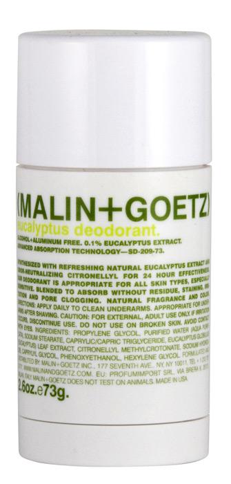 Malin+Goetz Дезодорант Эвкалипт, 73 гMG071Освежающий и эффективный дезодорант Malin+Goetz Эвкалипт не содержит спирта и алюминия и прекрасно подходит для мужчин и женщин. Дезодорант содержит натуральный экстракт эвкалипта и нейтрализатор запаха цитронеллил, которые действуют 24 часа, не забивает поры кожи и подходит для всех типов кожи, особенно для чувствительной кожи. Дезодорант Эвкалипт быстро впитывается. Специальная формула не оставляет следов на коже и одежде, не требует времени для впитывания и не вызывает раздражение кожи. Характеристики:Вес: 73 г. Производитель: США. Товар сертифицирован.