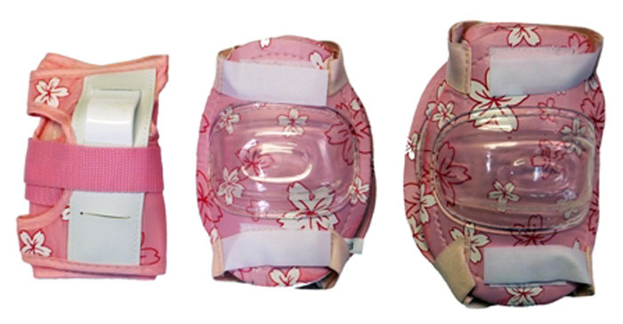 Комплект защиты Action, для катания на роликах, цвет: белый, розовый. Размер L