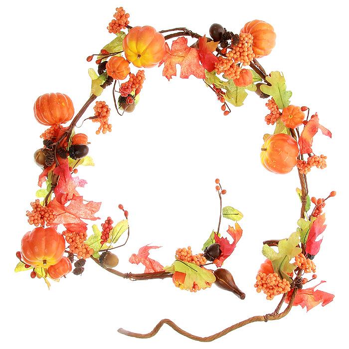 Гирлянда декоративная Тыквочки, длина 170 см5250011Декоративная гирлянда Тыквочки выполнена из ПВХ, пластика и металла. Она представляет собой композицию из тыкв, желудей, ягод, шишек и дубовых листьев. Декоративная гирлянда дополнит интерьер любого помещения, а также может стать оригинальным подарком для ваших друзей и близких. Характеристики:Материал: ПВХ, пластик, металл. Длина: 170 см. Артикул: 5250011.