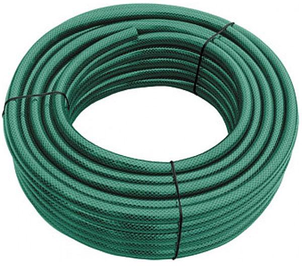Поливочный армированный шланг FIT используется для садово-огородных работ на даче или приусадебном участке. Не перегибается, легкий по весу (изготовлен из пластика), удобный в использовании. Шланг армированный, трехслойный, благодаря чему прослужит долгое время. Можно работать при температуре от   0 до + 50 С. Характеристики:Материал:  ПВХ. Длина шланга:  25 м. Диаметр шланга:  2,5 см. Максимальное давление:  16 атм. Размер упаковки: 33 см х 33 см x 15 см.