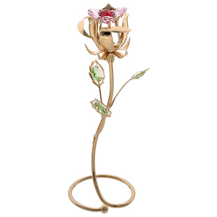 Фигурка декоративная Цветок, цвет: золотистый. 6748467484Декоративная фигурка Цветок, золотистого цвета, станет необычным аксессуаром для вашего интерьера и создаст незабываемую атмосферу. Фигурка выполнена в виде цветка розы на подставке и инкрустирована разноцветными кристаллами. Кристаллы, украшающие фигурку, носят громкое имяSwarovski. Ограненные, как бриллианты, кристаллы блистают сотнями тысяч различных оттенков.Эта очаровательная фигурка послужит отличным функциональным подарком, а также подарит приятные мгновения и окунет вас в лучшие воспоминания.Фигурка упакована в подарочную коробку. Характеристики:Материал: металл (углеродистая сталь, покрытие золотом 0,05 микрон), австрийские кристаллы. Размер фигурки: 6,5 см х 18,5 см х 6,5 см.Цвет: золотистый. Размер упаковки: 13,5 см х 23,5 см х 9,5 см. Артикул: 67484. Более чем 30 лет назад компанияCrystocraftвыросла из ведущего производителя в перспективную торговую марку, которая задает тенденцию благодаря безупречному чувству красоты и стиля. Компания создает изящные, качественные, яркие сувениры, декорированные кристалламиSwarovskiразличных размеров и оттенков, сочетающие в себе превосходное мастерство обработки металлов и самое высокое качество кристаллов. Каждое изделие оформлено в индивидуальной подарочной упаковке, что придает ему завершенный и презентабельный вид.