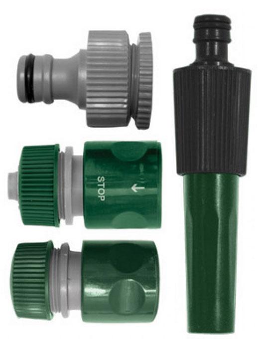 Набор поливочный 4шт. 3/4 (насадка для полива,соединитель, соединитель с автостопом, адаптер внешни77292Набор поливочный 4?шт. (насадка для полива, соединитель, соединитель с автостопом, адаптер внешний).Материал: ABS пластик.