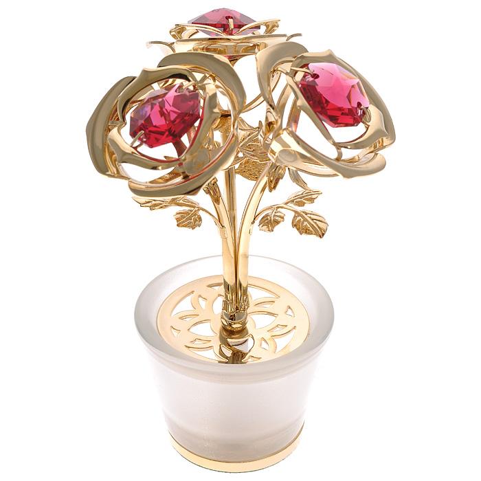 Фигурка декоративнакя Три розы, цвет: золотистый67574Декоративная фигурка Три розы, золотистого цвета, станет необычным аксессуаром для вашего интерьера и создаст незабываемую атмосферу. Фигурка выполнена в виде трех цветков розы в стеклянном матовом горшочке и декорирована красными кристаллами. Кристаллы, украшающие фигурку, носят громкое имяSwarovski. Ограненные, как бриллианты, кристаллы блистают сотнями тысяч различных оттенков.Эта очаровательная вещь послужит отличным подарком близкому человеку, родственнику или другу, а также подарит приятные мгновения и окунет вас в лучшие воспоминания.Фигурка упакована в подарочную коробку. Характеристики:Материал: металл (углеродистая сталь, покрытие золотом 0,05 микрон), стекло, австрийские кристаллы. Размер фигурки: 4 см х 9 см х 6 см. Цвет: золотистый. Размер упаковки: 9 см х 10 см х 6,5 см. Артикул: 67574. Более чем 30 лет назад компанияCrystocraftвыросла из ведущего производителя в перспективную торговую марку, которая задает тенденцию благодаря безупречному чувству красоты и стиля. Компания создает изящные, качественные, яркие сувениры, декорированные кристалламиSwarovskiразличных размеров и оттенков, сочетающие в себе превосходное мастерство обработки металлов и самое высокое качество кристаллов. Каждое изделие оформлено в индивидуальной подарочной упаковке, что придает ему завершенный и презентабельный вид.