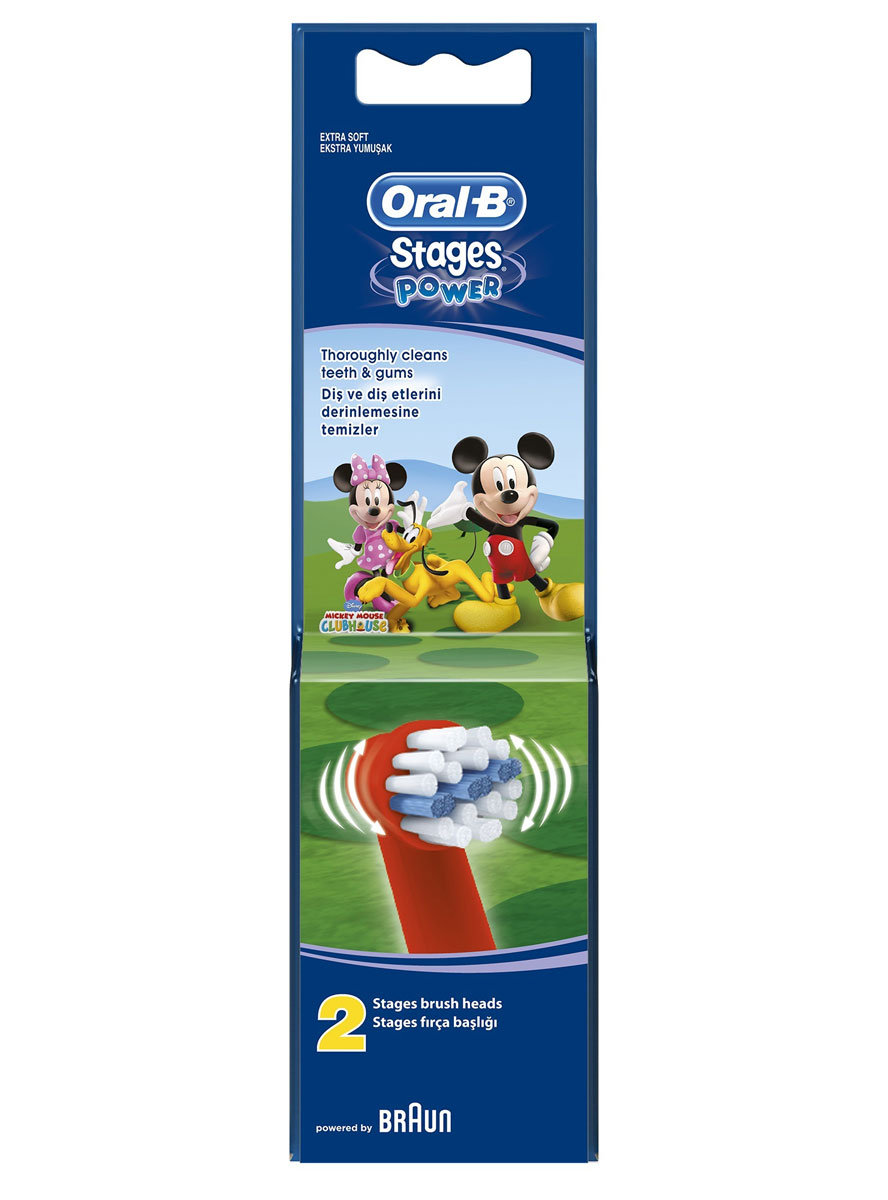 Oral-B Насадка для электрической зубной щетки Kids. Stages Power, 2 штBRU-64706728Сменная насадка Oral-B Stages Kids. Stages Power для электрической зубной щетки имеет специальные, меньшие по размеру щетинки, которые обеспечивают бережную, сверхмягкую чистку и делают ее идеальной для маленьких зубов и детского рта. Характеристики:Материал: пластик, щетина. Длина насадки: 7 см. Производитель: Германия.