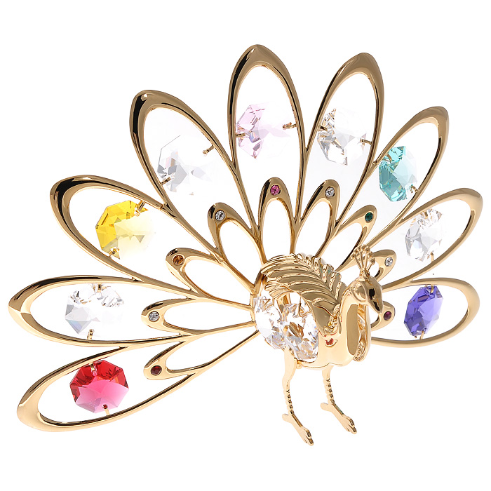 Фигурка декоративная Павлин, цвет: золотистый67037Декоративная фигурка Павлин, золотистого цвета, станет необычным аксессуаром для вашего интерьера и создаст незабываемую атмосферу. Фигурка в виде павлина с расправленным хвостом инкрустирована разноцветными кристаллами. Кристаллы, украшающие фигурку, носят громкое имяSwarovski. Ограненные, как бриллианты, кристаллы блистают сотнями тысяч различных оттенков.Эта очаровательная фигурка послужит отличным функциональным подарком, а также подарит приятные мгновения и окунет вас в лучшие воспоминания.Фигурка упакована в подарочную коробку. Характеристики:Материал: металл (углеродистая сталь, покрытие золотом 0,05 микрон), австрийские кристаллы. Размер фигурки: 13 см х 6 см х 8,5 см. Цвет: золотистый. Размер упаковки: 14 см х 10,5 см х 7,5 см. Артикул: 67037. Более чем 30 лет назад компанияCrystocraftвыросла из ведущего производителя в перспективную торговую марку, которая задает тенденцию благодаря безупречному чувству красоты и стиля. Компания создает изящные, качественные, яркие сувениры, декорированные кристалламиSwarovski различных размеров и оттенков, сочетающие в себе превосходное мастерство обработки металлов и самое высокое качество кристаллов. Каждое изделие оформлено в индивидуальной подарочной упаковке, что придает ему завершенный и презентабельный вид.
