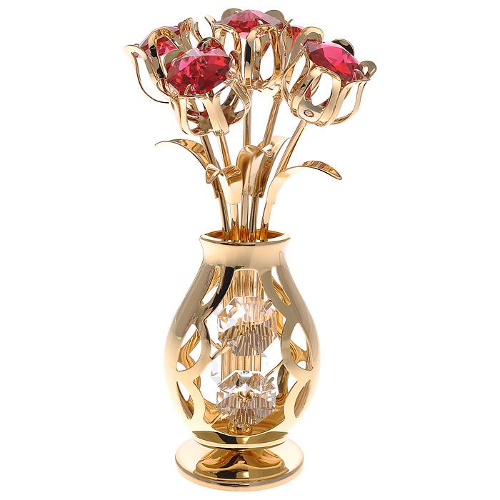 Фигурка декоративная Ваза с букетом, цвет: золотистый67442Декоративная фигурка Ваза с букетом, золотистого цвета, станет необычным аксессуаром для вашего интерьера и создаст незабываемую атмосферу. Фигурка в виде вазы с пятью тюльпанами инкрустирована красными и белыми кристаллами. Кристаллы, украшающие фигурку, носят громкое имяSwarovski. Ограненные, как бриллианты, кристаллы блистают сотнями тысяч различных оттенков.Эта очаровательная фигурка послужит отличным функциональным подарком, а также подарит приятные мгновения и окунет вас в лучшие воспоминания.Фигурка упакована в подарочную коробку. Характеристики:Материал: металл (углеродистая сталь, покрытие золотом 0,05 микрон), австрийские кристаллы. Размер фигурки: 5 см х 5 см х 10,5 см. Цвет: золотистый. Размер упаковки: 8,5 см х 13 см х 8,5 см. Артикул: 67442. Более чем 30 лет назад компанияCrystocraftвыросла из ведущего производителя в перспективную торговую марку, которая задает тенденцию благодаря безупречному чувству красоты и стиля. Компания создает изящные, качественные, яркие сувениры, декорированные кристалламиSwarovski различных размеров и оттенков, сочетающие в себе превосходное мастерство обработки металлов и самое высокое качество кристаллов. Каждое изделие оформлено в индивидуальной подарочной упаковке, что придает ему завершенный и презентабельный вид.