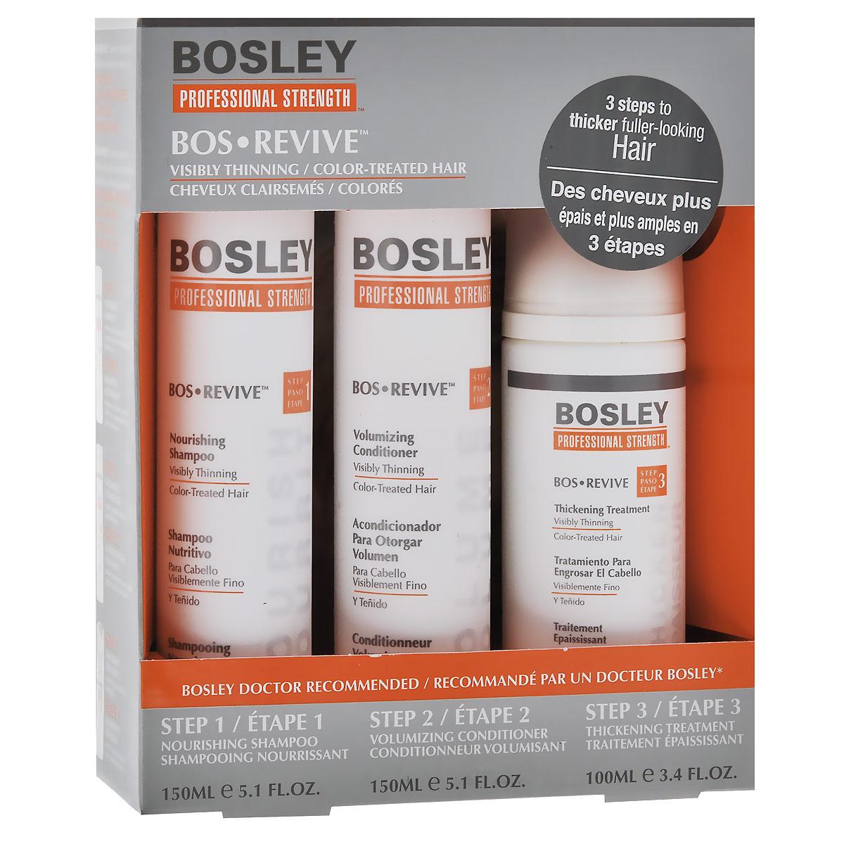 Bosley Набор для истонченных и окрашенных волос: шампунь, кондиционер, несмываемый уходOS-81652107Набор Bosley для истонченных и окрашенных волос состоит из шампуня, кондиционера и несмываемого ухода. Нежный, не содержащий сульфаты питательный шампунь Bosley, очищает, восстанавливает и омолаживает волосы и кожу головы. Выводит токсины, такие как ДГТ (основная причина истончения и выпадения волос) с кожи головы и заметно истонченных волос.Создает здоровую среду дляволос и кожи головы благодарякомплексу LifeXtend.Позволяет сохранить яркость цвета окрашенных волос на более длительный срок с помощью системы ColorKeeper. Кондиционер Bosley для объема предназначен для истонченных окрашенных волос. Не содержит парабенов, увеличивает объем.Экстракт водорослей способствует защите от фотостарения, частого мытья и механических повреждений в результате расчесывания.Содержит LifeXtend комплекс, который помогает стимулировать производство белка кератина в луковице волос и укрепляет всю структуру волоса.С помощью система ColorKeeper кондиционер сохраняет яркость цвета окрашенных волос на более длительный срок. Ежедневный несмываемый омолаживающий и питательный уход Bosley для заметно истонченных окрашенных волос. Восстанавливает и омолаживает волосы и кожу головы благодаря комплексу LifeXtend, помогая уменьшить действие ДГТ. Утолщающая технология добавляет силу и невесомый объем. Технология ColorKeeper сохраняет яркость цвета окрашенных волос на более длительный срок.Способ применения: наносить ежедневно на кожу головы и волосы после применения шампуня и кондиционера. Не смывать! Характеристики:Объем шампуня: 150 мл. Объем кондиционер: 150 мл. Объем ухода: 100 мл. Размер упаковки: 15 см х 5,5 см х 19 см. Производитель: США. Товар сертифицирован.