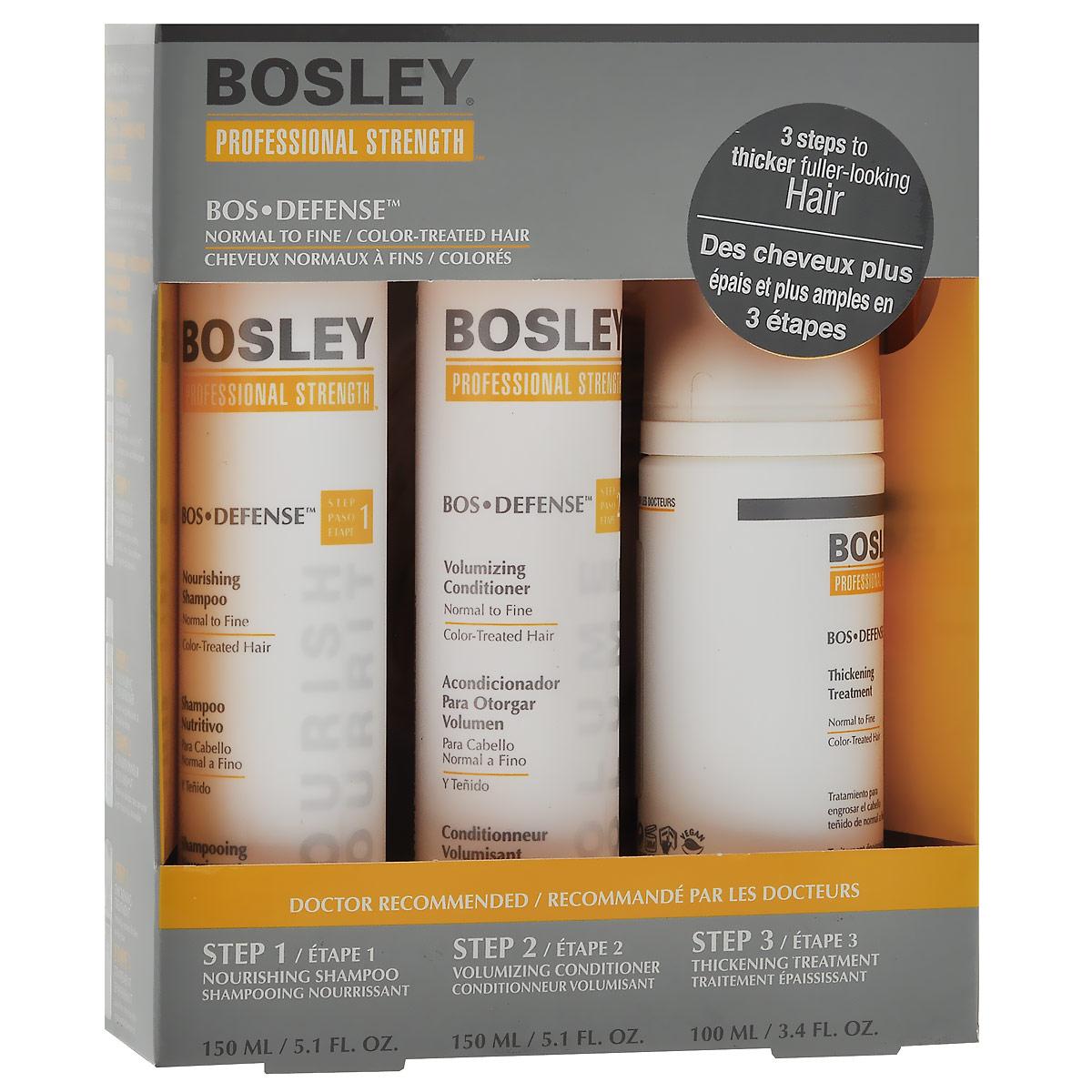 Bosley Набор для нормальных, тонких и окрашенных волос: шампунь, кондиционер, несмываемый уход bosley pro набор для волос шампунь и кондиционер для нормальных тонких окрашенных волос 300 300 мл